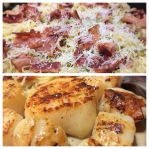 Scallops and pasta